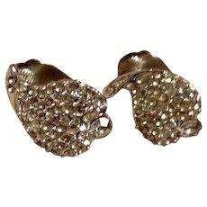 Silver Tone Clear Rhinestone Clip Earrings