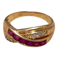 14K Genuine Ruby & Diamond Bypass Ring Size 5