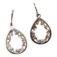 Sterling Silver Open Work Dangle Earrings