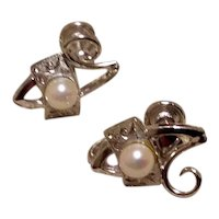Sterling Silver Faux Pearl Screw Back Earrings