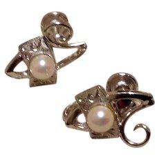 Sterling Silver Faux Pearl Screw Back Earrings