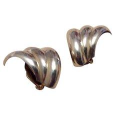 Native American Sterling Clip Earrings