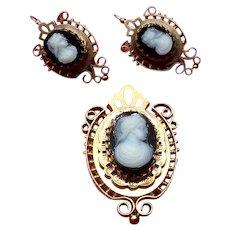 10K Hardstone Cameo Brooch & Earrings