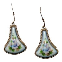 Silver Tone Enameled Flower Dangle Earrings