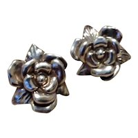 Sterling Silver Floral Clip Earrings