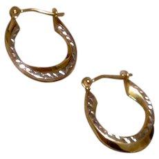 Square Hammered 14K Gold Hoop Earrings