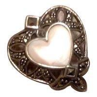 Sterling MOP & Marcasite Heart Enhancer Pendant