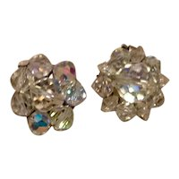 Clear Crystal Clip Earrings