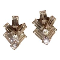 Clear Rhinestone Clip Earrings