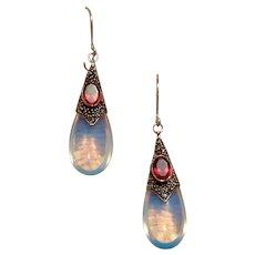 Bali Sterling Capped Garnet & Opalescent Opalite Dangle Earrings NOS