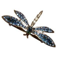 Large Rhinestone Dragonfly Brooch