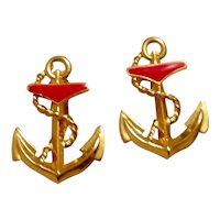 Anchor Gold Tone Enameled Clip Earrings