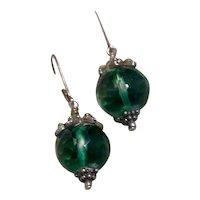 Sterling Bali Faceted Green Glass Dangle Earrings