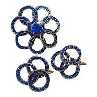 Silver Tone Blue Rhinestone Brooch & Earrings