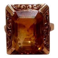 14K Gold Smoky Topaz Ring Size 7