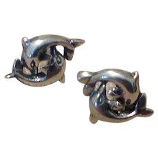 Sterling Silver Double Dolphin Pierced Earrings