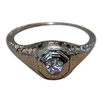 Art Deco 14K Gold Filigree Engagement Ring