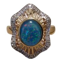 14K Opal Triplet Diamond Ring Size 8 1/4