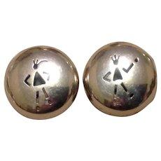 Handmade Sterling Modernist Mexican Stick People Earrings
