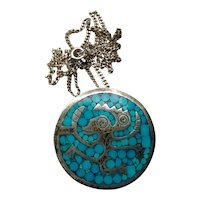 Sterling Taxco Maricela Turquoise Inlay Brooch Pendant