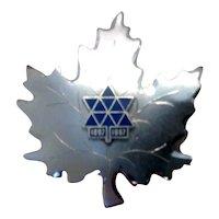 Sterling Enameled Canada Maple Leaf Confederation Centennial 1867 -1967 Brooch