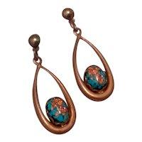 Copper Turquoise Dangle Earrings Gift Of Montana