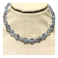 Light Blue Faceted Crystal Necklace