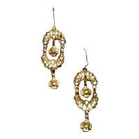 Gold Tone Dangle Earrings