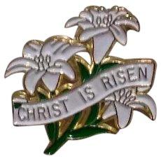 Christ Is Risen Enameled Brooch NOS