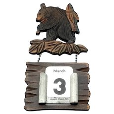 Hand Carved Bear With Fish Perpetual Calendar