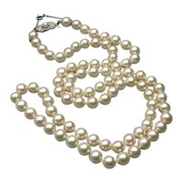 """Majorica Spain Simulated Pearl Hand Knotted Single 30"""" Strand Necklace"""