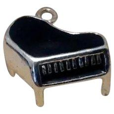Sterling Black Enameled Piano Charm