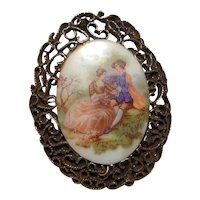 Oval Gold Tone Filigree Hand Painted Brooch
