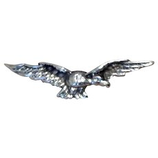 Victorian Sterling Silver Flying Eagle Brooch