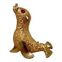 Gold Tone Metal Seal Brooch