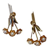 12K Gold Filled Cultured Pearl Screw Back Earrings NOS