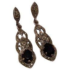 Sterling Marcasite & Garnet Dangle Earrings