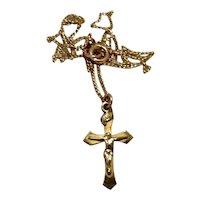 Silver Tone Crucifix Pendant Necklace