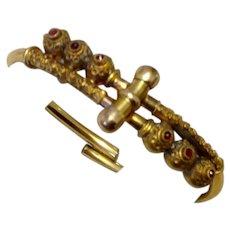 Victorian Etruscan Revival Gold Filled Garnet Bangle Bracelet