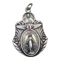 Sterling Enameled US Military Scapular Medal