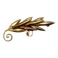 12K Gold Filled Leaf Brooch Pendant