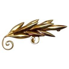 12K Gold Filled Leaf Brooch Pendant