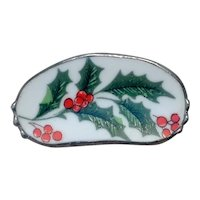 Christmas China Holly Leaf Brooch