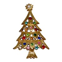 Gold Tone Rhinestone Christmas Tree Brooch