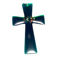 Green Lucite Stainless Steel Cross Pendant