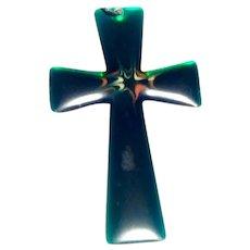 Green Lucite Stainless Steel Cross Pendant