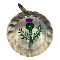 Hand Etched Hand Painted Thistle Pendant