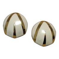 Gold Tone White Enamel Pierced Earrings