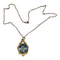 14K Gold Filled Blue Topaz Glass Pendant Necklace