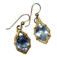 14 K Gold Filled Blue Topaz Glass Dangle Earrings
